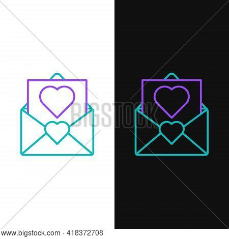 Line Envelope With Valentine Heart Icon Isolated On White And Black Background. Message Love. Letter