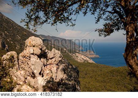 Magnificent Scenery Of Bay And Mountains. Mediterranean Sea Coast. Nature Of Turkey.