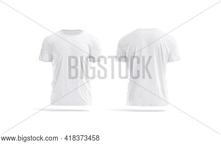 Blank White Wrinkled T-shirt Mockup, Front And Back View, 3d Rendering. Empty Cotton Casual Tee-shir