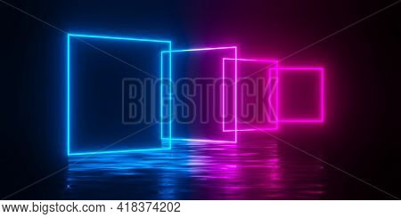 Multiple Modern Futuristic Abstract Blue, Red And Pink Neon Glowing Light Squares Frames Offset In D