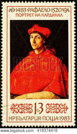 Moscow, Russia - April 25, 2021: Stamp Printed In Bulgaria, Shows Portrait Of Cardinal By Raphael, D
