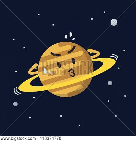 Satern Exercising On Space Background. Star And Planets On Galaxy Background. Flat Style Vector Illu