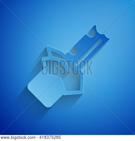 Paper Cut Bitten Chocolate Bar Icon Isolated On Blue Background. Paper Art Style. Vector