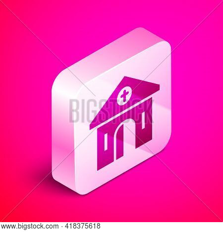 Isometric Church Building Icon Isolated On Pink Background. Christian Church. Religion Of Church. Si