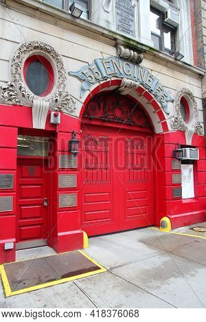 New York, Usa - July 1, 2013: Exterior View Of New York City Fire Department Engine 55. Fdny Is The