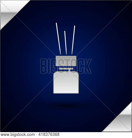 Silver Aroma Diffuser Icon Isolated On Dark Blue Background. Glass Jar Different With Wooden Aroma S