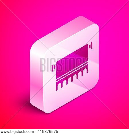 Isometric Towel On Hanger Icon Isolated On Pink Background. Bathroom Towel Icon. Silver Square Butto