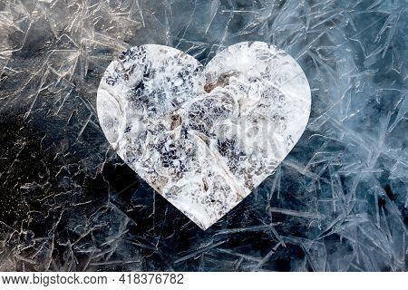 Heart Made Up Of Different Frozen Structures. Icy Cold Heart Concept