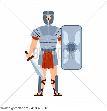Ancient Roman Warrior In Armour And Helmet Flat Vector Illustration Isolated.