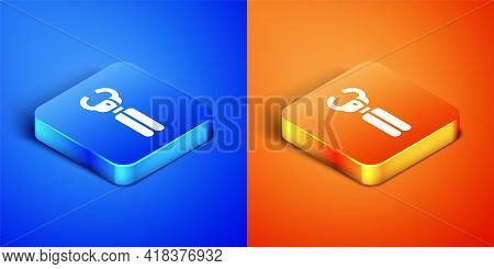 Isometric Clippers For Grooming Pets Icon Isolated On Blue And Orange Background. Pet Nail Clippers.