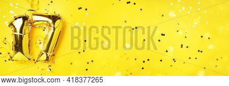 Gold Foil Balloon Number, Digit Seventeen. Birthday Greeting Card, Inscription 17. Anniversary Celeb