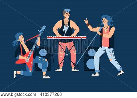 Characters Of Rock Band Musicians Perform On Stage, Cartoon Vector Illustration.