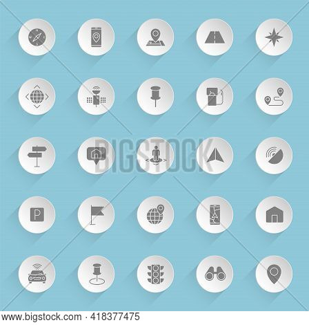 Navigation Vector Icons On Round Puffy Paper Circles With Transparent Shadows On Blue Background. Na