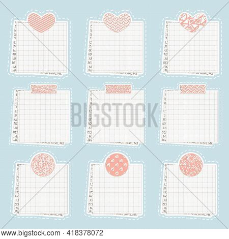Vector Cute Paper Notes, Stickers, Notepads, Memo Messages, Torn Paper Sheets, Blank Sticky Notepape