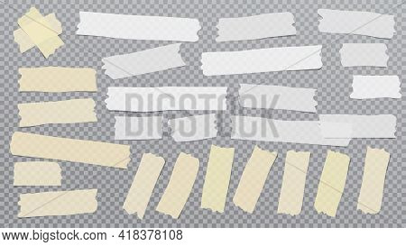 White And Yellow Different Size Adhesive, Sticky, Masking, Duct Tape, Paper Pieces Are On Grey Squar