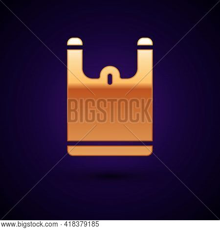 Gold Plastic Bag Icon Isolated On Black Background. Disposable Cellophane And Polythene Package Proh