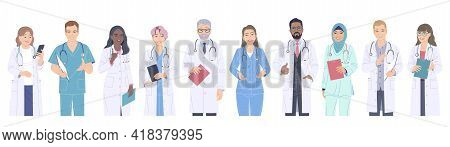 Group Of Doctors Male And Female Characters. Multiethnic Friendly Medical Workers In White Coats Iso