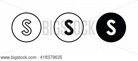 S Letter Logo, Letter S Icons Button, Vector, Sign, Symbol, Illustration, Editable Stroke, Flat Desi