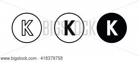 K Letter Logo, Letter K Icons Button, Vector, Sign, Symbol, Illustration, Editable Stroke, Flat Desi