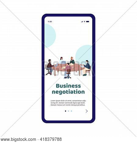 Business Negotiation Onboarding Page Template, Cartoon Vector Illustration.
