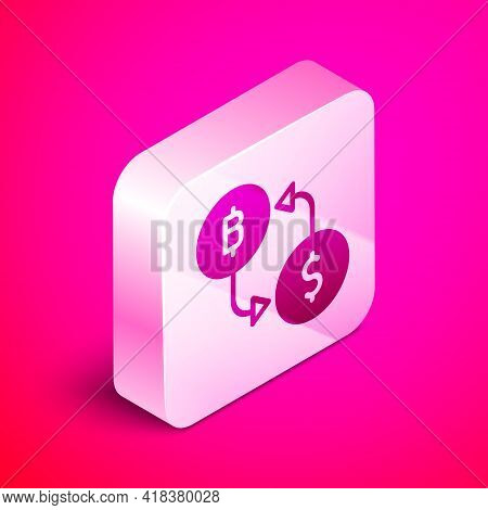Isometric Cryptocurrency Exchange Icon Isolated On Pink Background. Bitcoin To Dollar Exchange Icon.