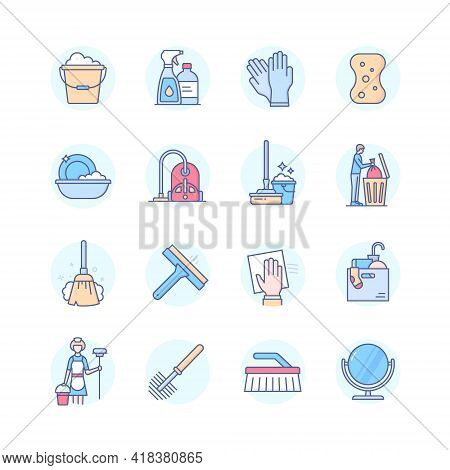 Cleaning Services - Line Design Style Icons Set
