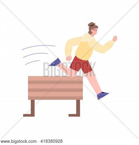 Man Jumping Over Obstacle Or Barrier, Cartoon Vector Illustration Isolated.