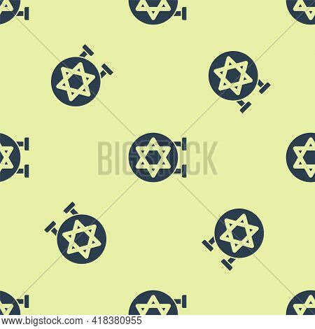 Blue Jewish Synagogue Building Or Jewish Temple Icon Isolated Seamless Pattern On Yellow Background.