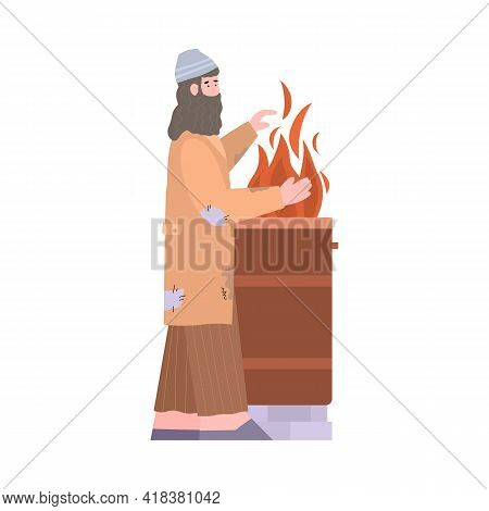 Homeless Man Or Unemployed Beggar In Rags, Flat Vector Illustration Isolated.