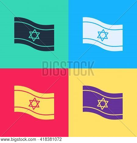 Pop Art Flag Of Israel Icon Isolated On Color Background. National Patriotic Symbol. Vector