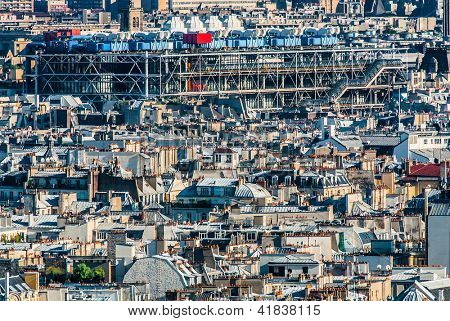 aerial view of beaubourg aera with the pompidou center museum   cityscape of Paris in france