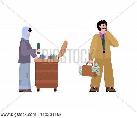 Gap Between Rich And Poor People Concept Cartoon Vector Illustration Isolated.