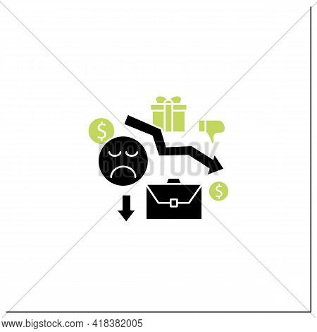 Motivation Glyph Icon. Reduce Work Motivation. Work Trouble. Unhappy Workers. Efficiency Decline.uni