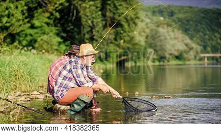 Good Catch. Bearded Men Fishing. Family Day. Lucky And Skilled. Catching Fish With Friend. Friends C