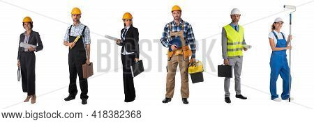 Set Of Full Length Portraits Of Professional Workers Business People Architects Isolated Over White