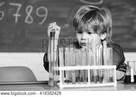 Experimenting With Chemicals Kid In Lab Coat Learning Chemistry Chemistry Lab. Back To School. Littl