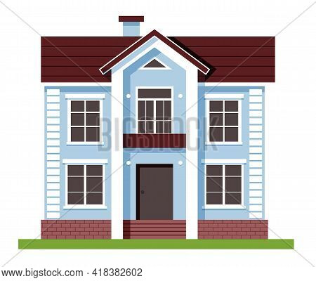 House Facade . Blue Flat Residential Hous. Houses Exterior Vector Illustration Front View With Roof.