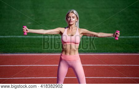 Sexy Fitness Woman Training With Barbells In Sportswear On Stadium, Muscles