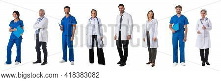 Set Of Full Length Portraits Of Medical Workers, Doctors, Nurses Isolated On White Background
