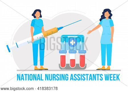 National Nursing Assistants Week Is Celebrated In June In The Usa. Medical Nurse Is Standing With St