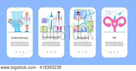 Gynecologist Concept Vector For App, Mobile Site. Gynecology Specialists Treat Patient. Family Plann