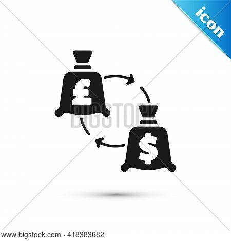 Grey Currency Exchange Icon Isolated On White Background. Euro And Dollar Cash Transfer Symbol. Bank