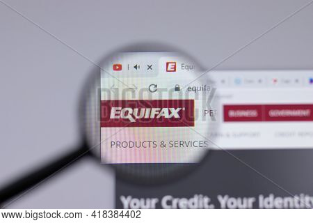 New York, Usa - 26 April 2021: Equifax Logo Close-up On Website Page, Illustrative Editorial