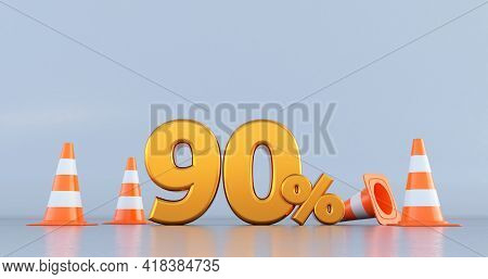 Ninety Percent (90% ) Number With Traffic Cones . 3d Render
