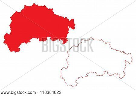 Giessen Region (federal Republic Of Germany, State Of Hessen, Hesse, Hessia) Map Vector Illustration