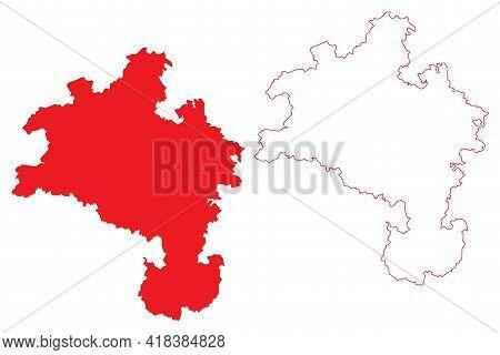 Kassel Region (federal Republic Of Germany, State Of Hessen, Hesse, Hessia) Map Vector Illustration,