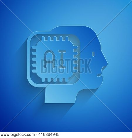 Paper Cut Humanoid Robot Icon Isolated On Blue Background. Artificial Intelligence, Machine Learning