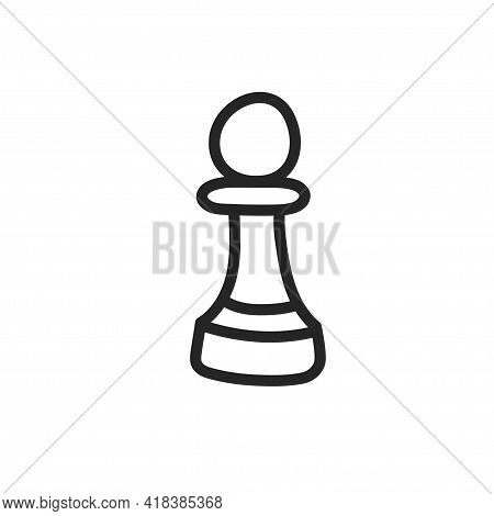 Chess Piece Pawn For Playing At Home In The Doodle Style. The Outline Drawn By Hand. Vector Illustra