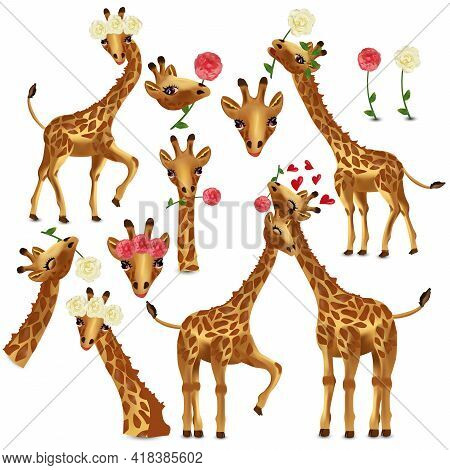 Collection Giraffes. Head Giraffe With Flower. Funny, Cute, Smiling African Animals. Vector Illustra