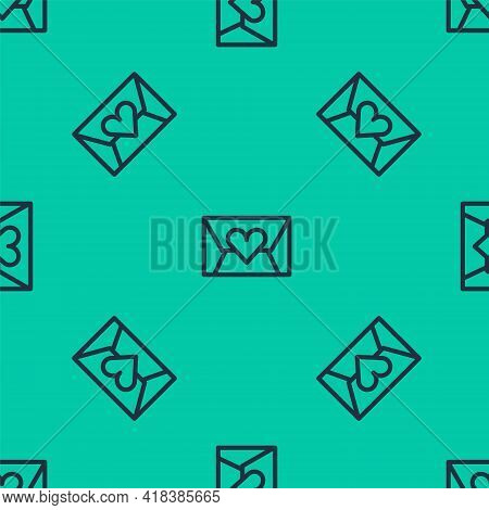 Blue Line Envelope With Valentine Heart Icon Isolated Seamless Pattern On Green Background. Message
